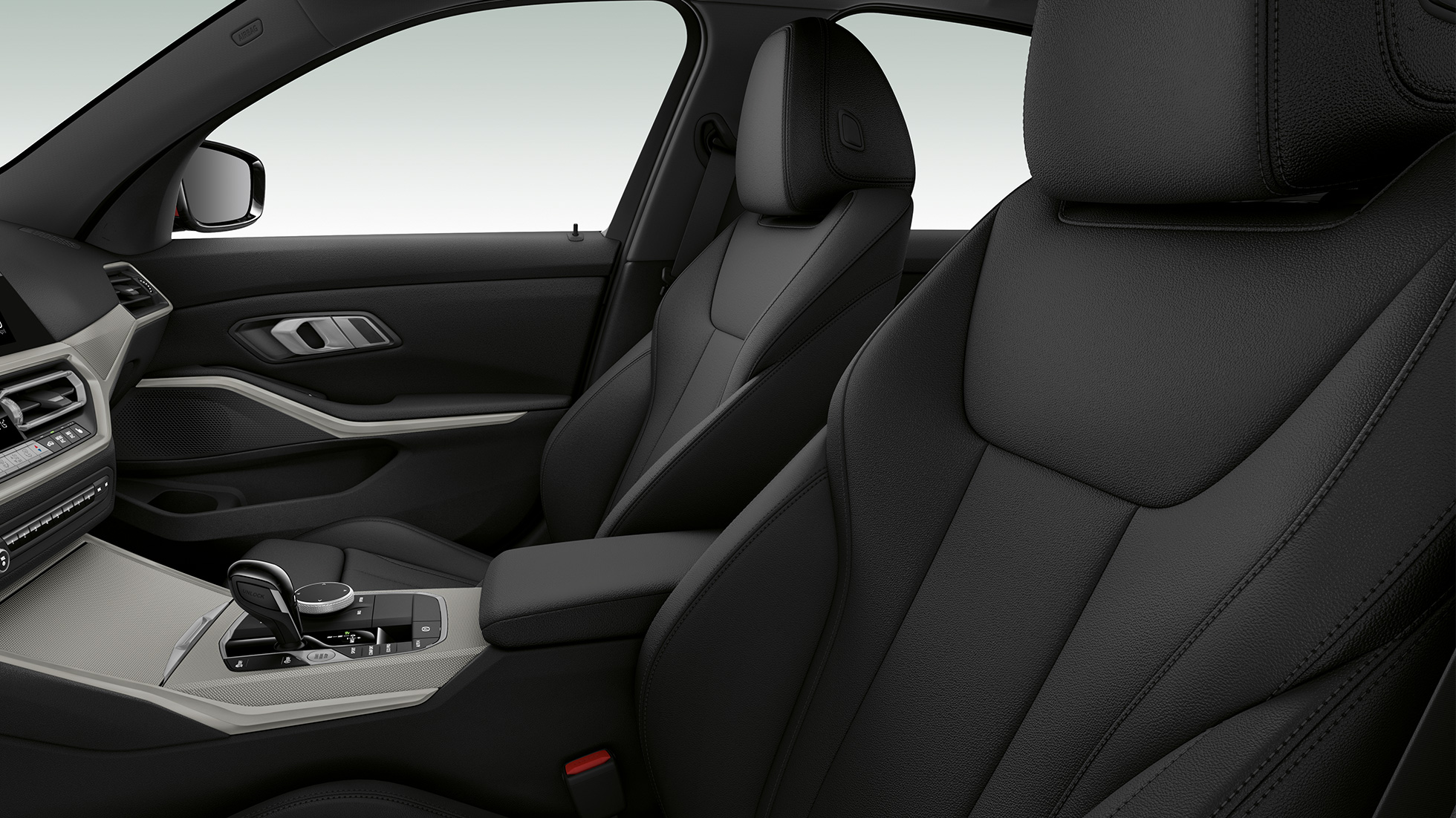 Side close-up of the front seats of the BMW 3 Series Sedan with model Advantage features.