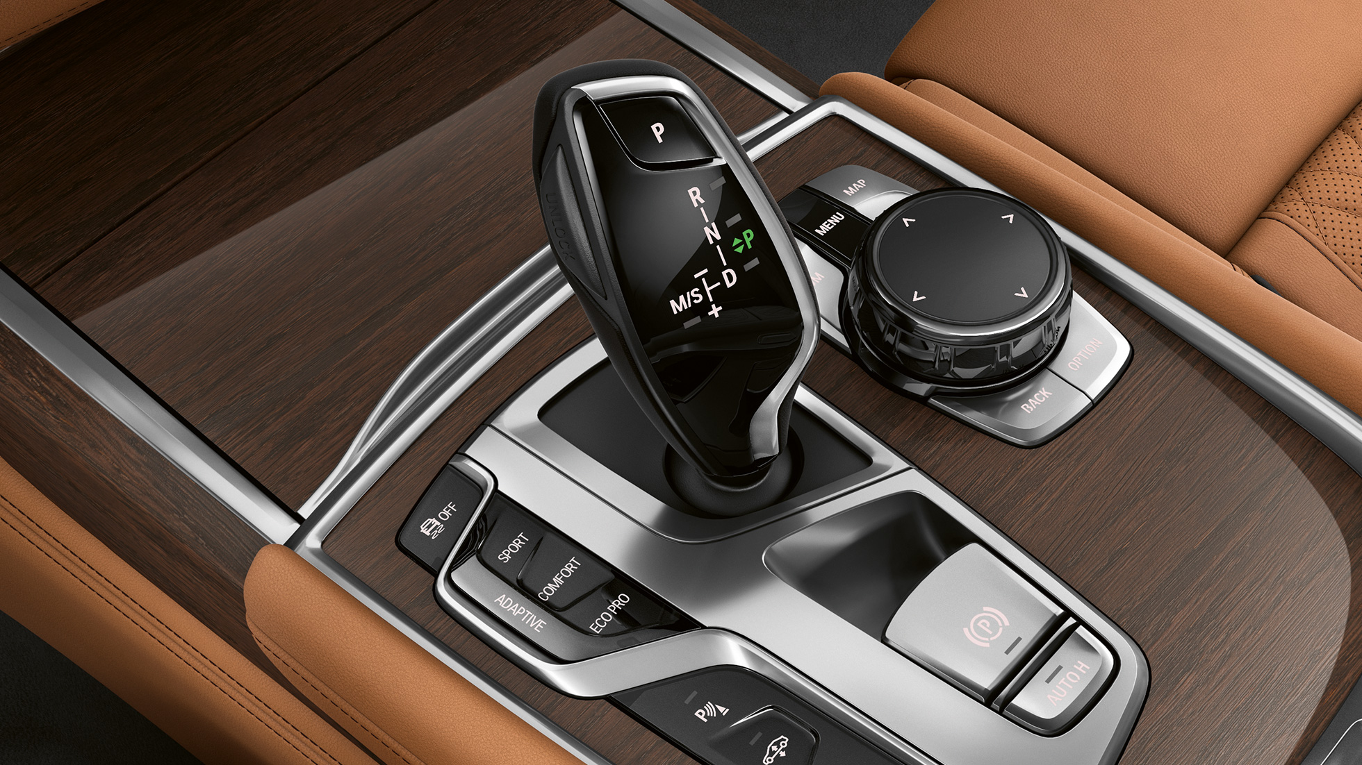 BMW 7 Series Sedan in with Exterior Design Pure Excellence: Close-up of gear selector