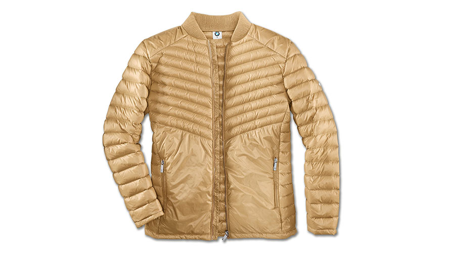 The product picture shows the BMW Soft Down Jacket for men.